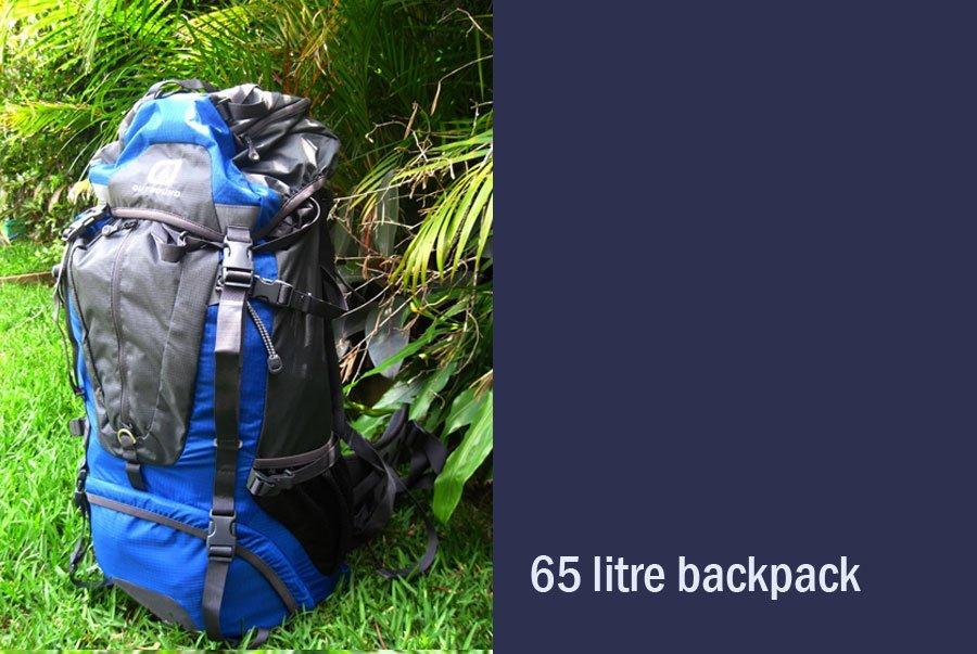 65 litre back pack hire