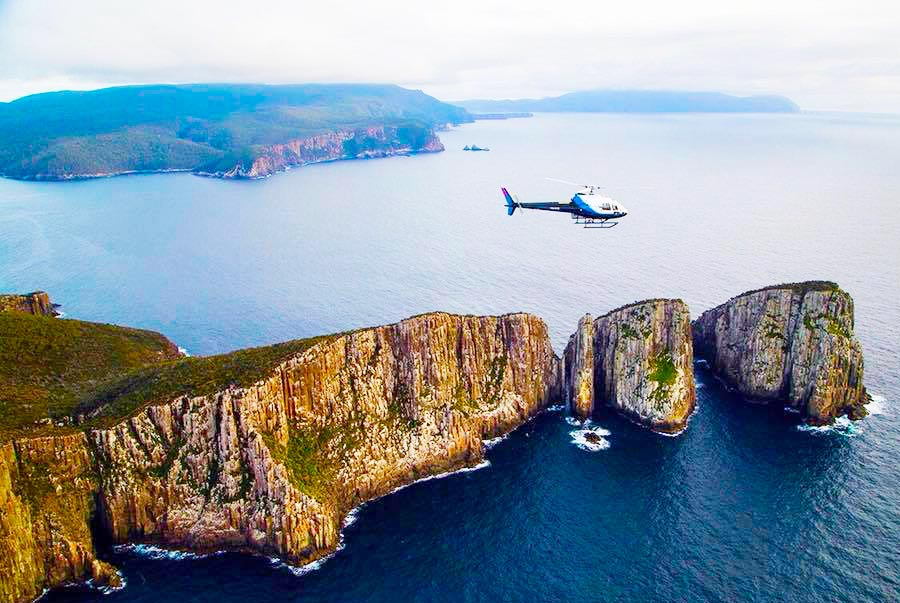 Helicopter over Cape Pillar