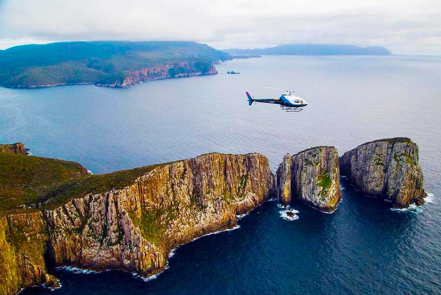 A scenic - and included - helicopter flight gives an unmissable overview of the Three Capes Walk