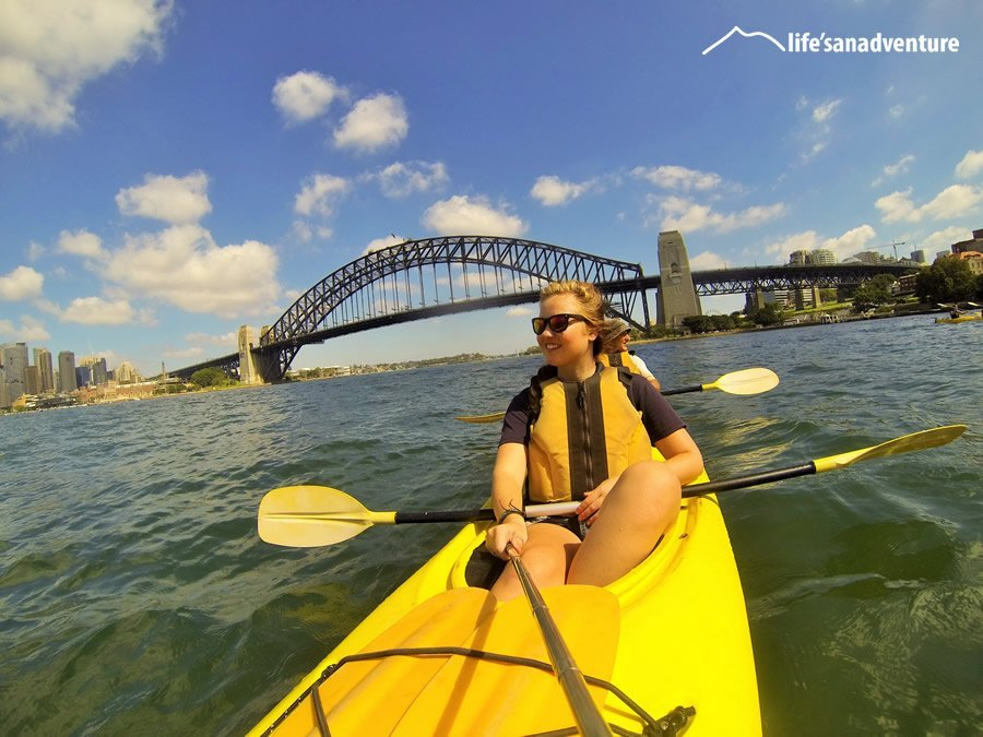 Kayak in the middle of Sydney Harbour