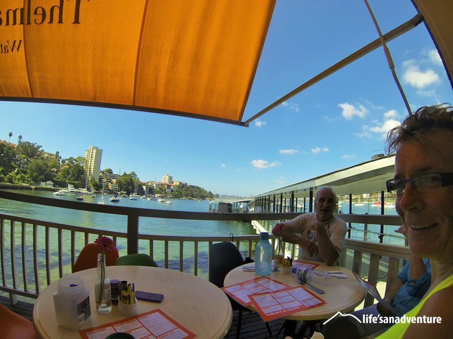 Morning breakfast stop in a waterfront cafe