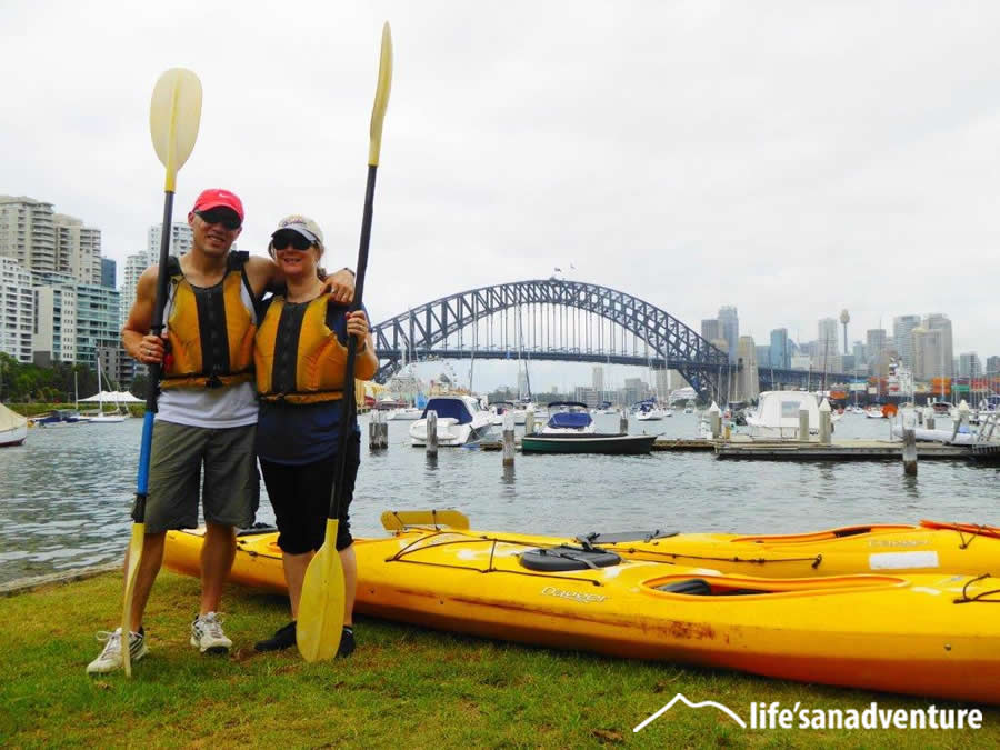 Travel in tandem kayaks, Sydney Harbour