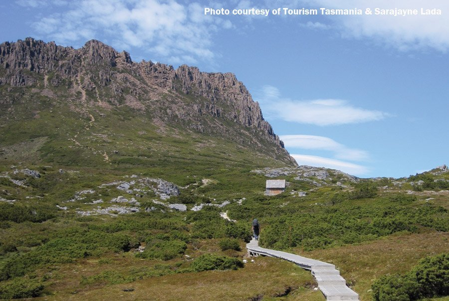 Walking up to Cradle Mountain