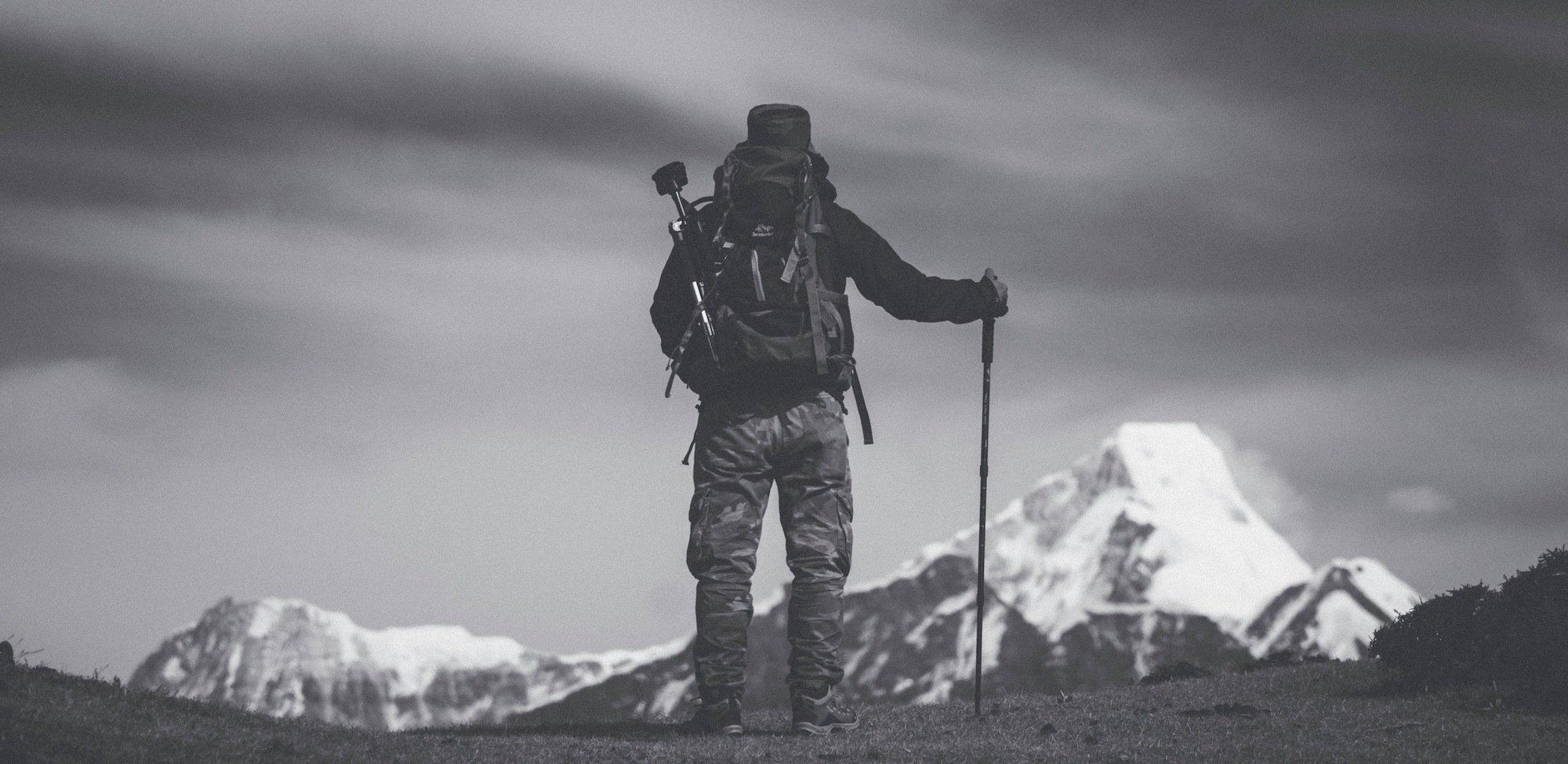 Walking Poles man on the mountain