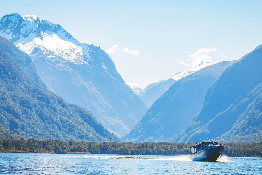 Cruise to the start of our walk Milford Sound walk