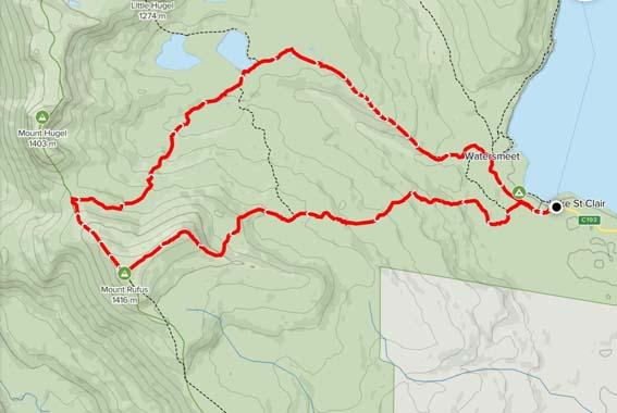 Map Cradle Mountain Mount Rufus via Shadow Lake